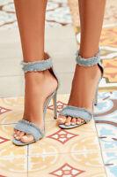 Denim Ankle Strap Open Peep Toe Stiletto High Heels - Blue