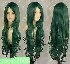 New Fashion Long Dark green curly cosplay Wig H43