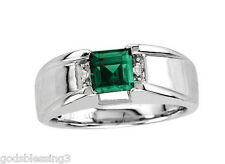 MENS WOMENS PRINCESS EMERALD & DIAMOND RING SZ 8 SZ 9 SZ 10 SZ 11 SZ 12 SZ 13
