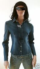 WoW FORNARINA BLIZZY Cowgirl Jeans Stretch Strass Bluse Hemd Jacke D:40 g.M