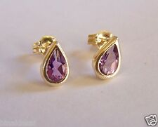 9ct Gold SMALL TEARDROP AMETHYST Studs Earrings Love B'day Mum's GIFT BOX B NEW