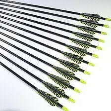 """12 Shiny Black® 34"""" Premium Fiberglass Hunting / Target Arrows w/ Screw-In F.P."""