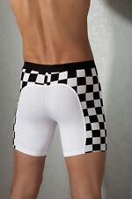 Boxer Shorts Scacchi lunghi Bianco/Nero Corsa Racer Intimo Underwear Uomo  L/XL