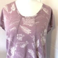 White Stuff Dusky Pink 100% Linen Top Size 14 White Leaf Print Short Sleeves