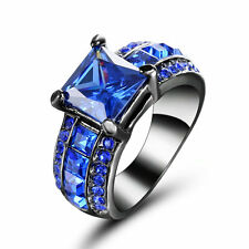 Size 7 Black Rhodium Wedding Ring Set Engagement Princess Cut Sapphire Halo