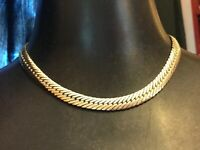 Vintage Jewellery Gold Tone Flat  Link NECKLACE