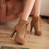 Womens Ankle Boots Lace Up Platform Shoes Chunky High Heels British Shoes Lapel