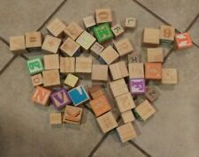 Lot of 47 Wood Blocks Alphabet and Number Building Wooden Stacking Toys