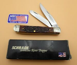 """Schrade USA made TRT-96 """"Tennessee River Trapper"""" Jigged Bone Handles/box/papers"""