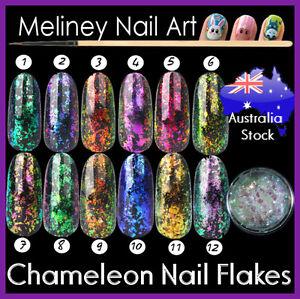 Chameleon Duochrome Flakes Chrome Nail art foils Shifting Flakies Unicorn Skin