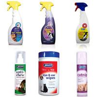 Johnsons Anti Chew Stain Odour Remover Catnip Spray Eye Ear Wipes Safe Cat Dog
