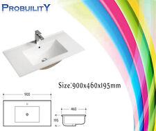 900 x 460 High Gloss Ceramic Vanity Cabinet Top Above Basin Bathroom+Popup Waste