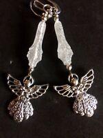 Angel Charm Earrings With Decorative Acrylic Flower Bead