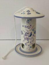 New listing Blue Floral Ceramic Patio Bird Feeder Spring Garden Laura Ashley Pottery Barn
