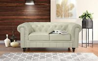 Classic Scroll Arm Real Leather Match Chesterfield Love Seat Sofa, Beige