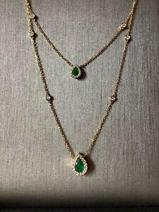 Emerald diamond double pendant necklace-never worn;emerald:0.57ct,diamond:0.19ct