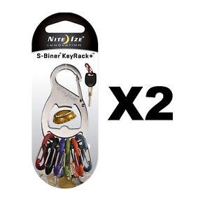 Nite Ize S-Biner KeyRack + Bottle Opener Stainless Keychain w/Biners (2-Pack)