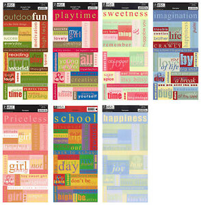 """Pebbles Cardstock WORDS Stickers 13x6"""" Sht CHOOSE Baby/Girl/Boy/Outdoors/School"""