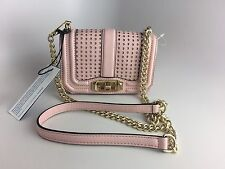 NWT Rebecca Minkoff Mini Love Pink Quartz Perforated Leather Crossbody Bag $225