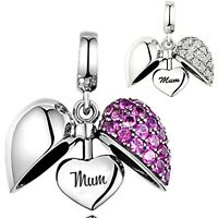 💖 I Love You Heart Charm S925 Sterling Silver Gift Bracelet Bead Mum Mother Mam