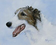 Original Oil painting - portrait of a borzoi dog  - by j payne
