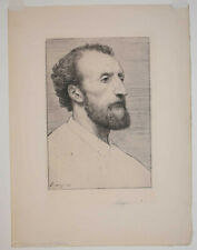 Listed french Artist Alphonse Legros, Signed Original Etching 1877