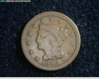 1846 1c Braided Hair Large Cent old penny ( 78s138 )