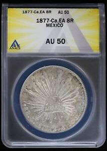 1877 Ca EA Mexico Silver 8 Reales Chihuahua Coin Cap & Rays ANACS AU50 About Unc