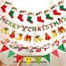 Christmas Party Hanging Decor Snowman Santa Claus Elk Sock Banner Xmas DIY Gift