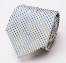 New $225 BORRELLI NAPOLI 7-Fold Silk Tie Light Yellow-Sky Blue Woven Pattern