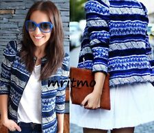 ZARA BLUE AZTEC NAVAJO JACQUARD JACKET BLAZER CARDIGAN COAT MEDIUM - M