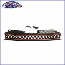 VW Mk6 Golf/Gti/Jetta Sportwagen Badgeless Hex Mesh Grille - Black W/ Red Trim