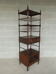 Antique 19th Century English Burl Mahogany Acorn Carved Top Etagere Display