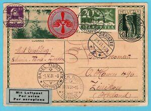 SWITZERLAND air postal card 1931 St Gallen to Zierikzee Netherlands