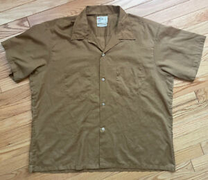 Kmart Towncraft Vintage 60s Loop Collar Thin Button Shirt Rockabilly Square XL
