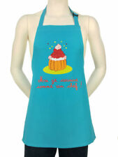 """Kids French Apron """"Me, I cook like a chef"""" Turquoise 100% Cotton-Made In France"""