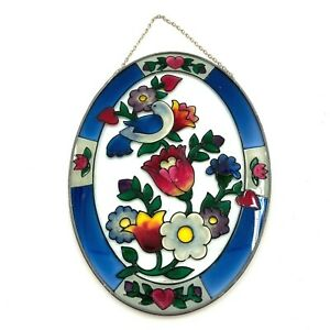 Joan Baker Designs Oval Stained Glass Bird Floral Love Handpainted Wall Hanging