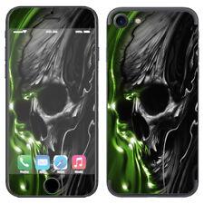 Skin Decal Vinyl Wrap for Apple iPhone 7 / Dark Skull, Skeleton Neon Green
