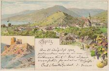 73547 - Litho Spitz mit Ruine Hinterhaus im Bezirk Krems - Land um 1900