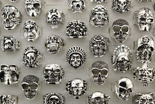 34pcs Alloy Jewelry Men's Cool Rings Wholesale Lots Mixed Style Skull Ring AH785