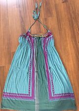 Halter Multi-colored Dress w/Wooden Bead Detail- Sz L Org. fm Urban Outfitters