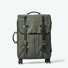 CC FILSON Rugged Twill Rolling 4-WHEEL Check-In Bag Otter Green Leather Luggage