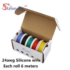 30m/box 24AWG Rubber Silicone Wire 5 colors Mix set Tinned copper Wire 6 m/roll