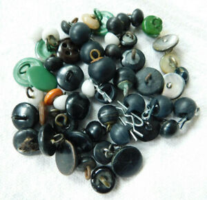 53 Antique old shoe button lot~black~green~assorted~metal~glass~H5