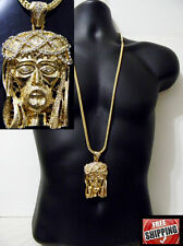 Gold Jesus Face Pendant Piece Franco Chain Hip Hop Iced Out Necklace Chunky NEW