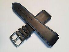 TechnoMarine Watch Strap 20MM Matte Black Leather w/ Blue Stitching - 7375 RSX15