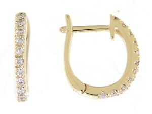 Solid 14K Yellow Gold Real Diamond Daily Wear Huggies Earrings Jewelry 0.14CT