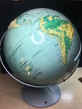 """Nystrom Sculptural High Relief 16"""" World Globe Tilt Axis Map 39-47 Metal Stand"""