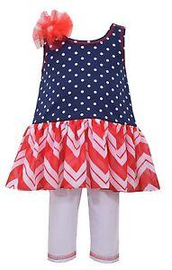 Bonnie Jean 4th July American Flag Blue Red  Dress Set Baby Girls 0-3 Months-6X