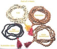 4 Japa Mala 108 Bead Rudraksha Tulsi Red & White Sandalwood Mala 1 Each Rosary